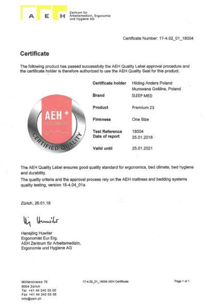 atest AEH dla materaca Premium SleepMed