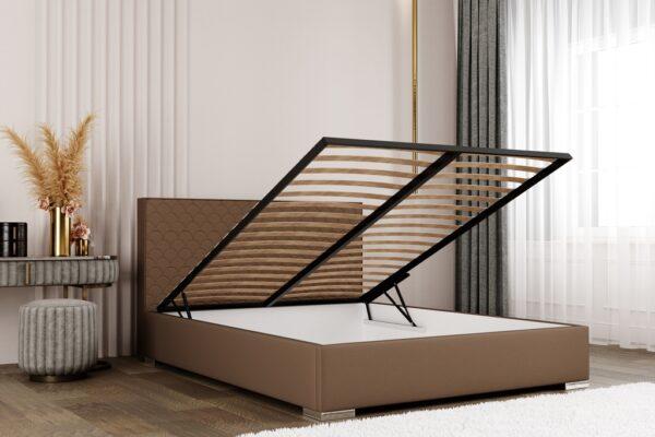 łóżko Poches Matinee tapicerowane z pojemnikiem na pościel
